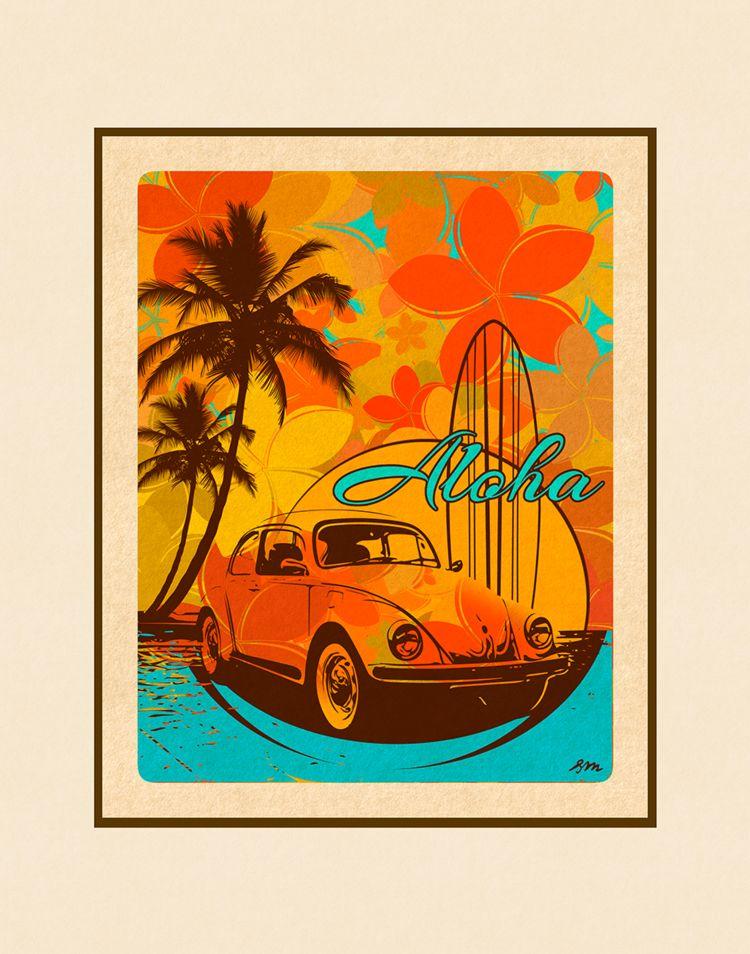 Aloha Posters ALOHA, 11X14 MATTED PRINT