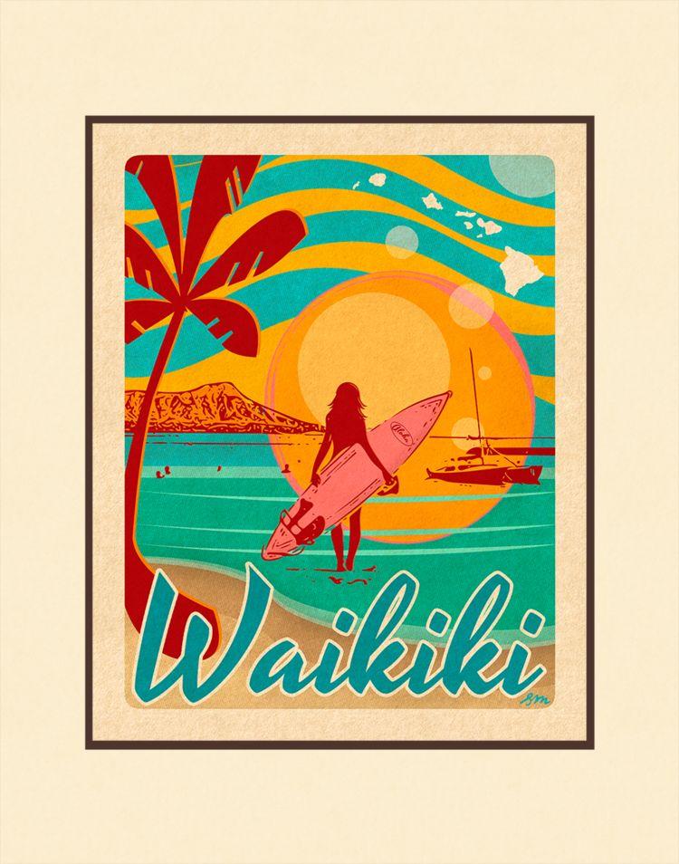 Aloha Posters WAIKIKI, 11X14 MATTED PRINT