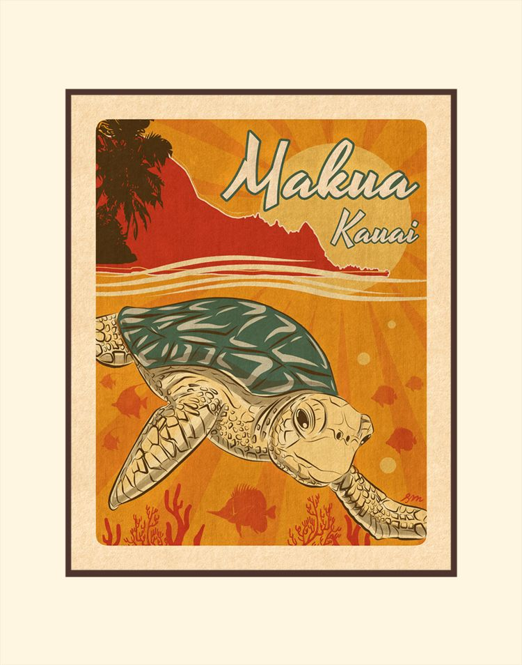 Aloha Posters MAKUA KAUAI, 11X14 MATTED PRINT