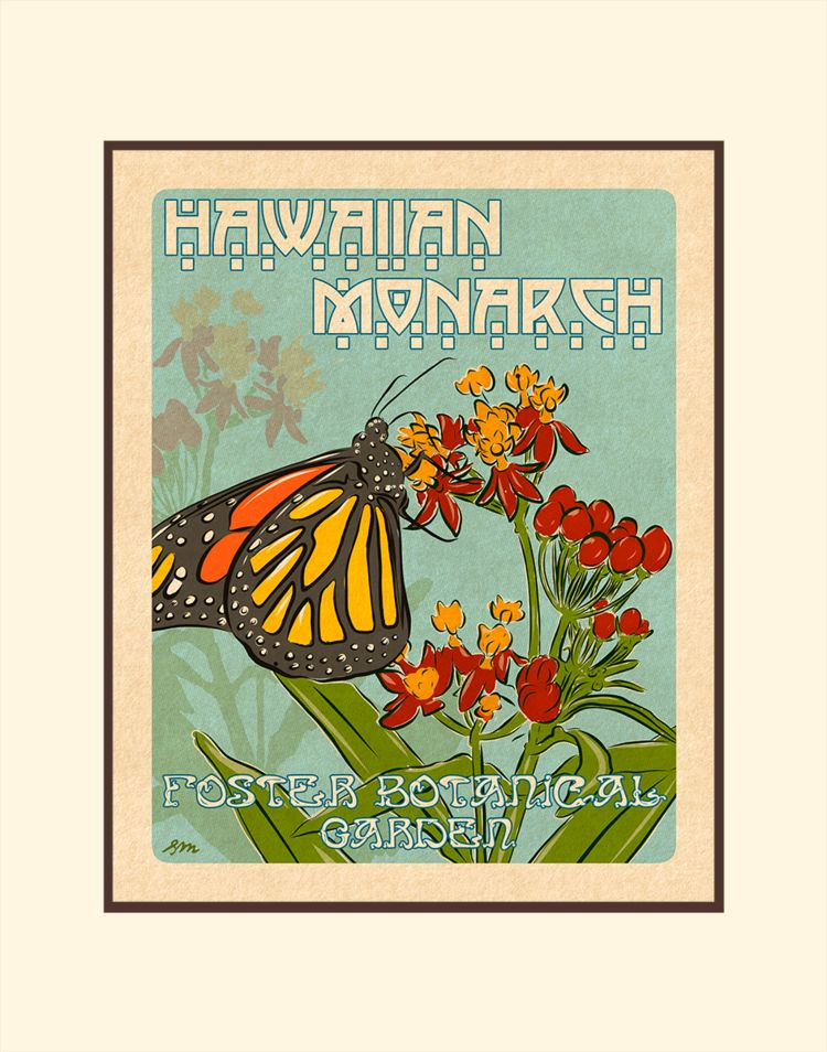 Aloha Posters HAWAIIAN MONARCH, 11X14 MATTED PRINT
