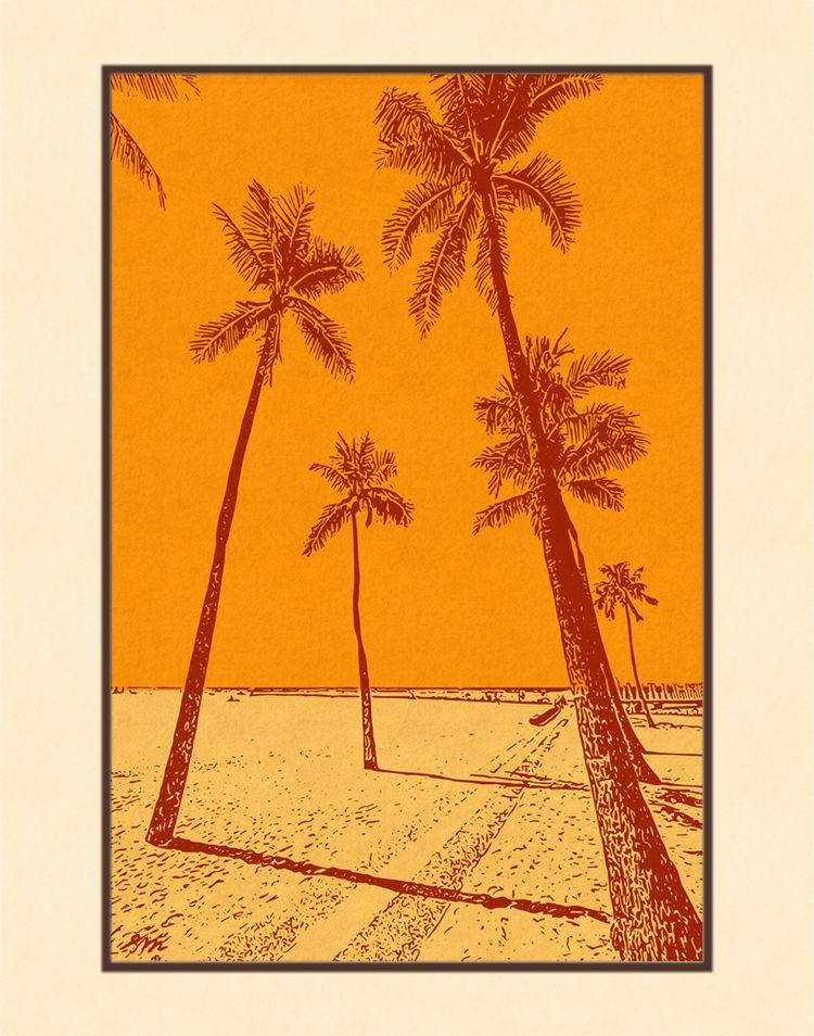 Aloha Posters PACIFIC PALMS II, 11X14 MATTED PRINT