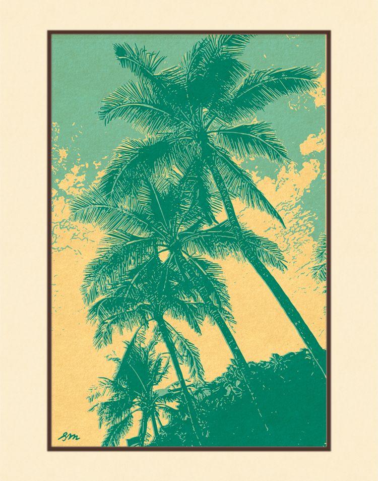 Aloha Posters PACIFIC PALMS III, 11X14 MATTED PRINT