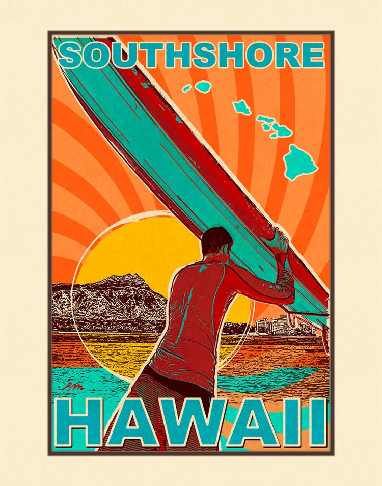 Aloha Posters SOUTH SHORE, 11X14 MATTED PRINT