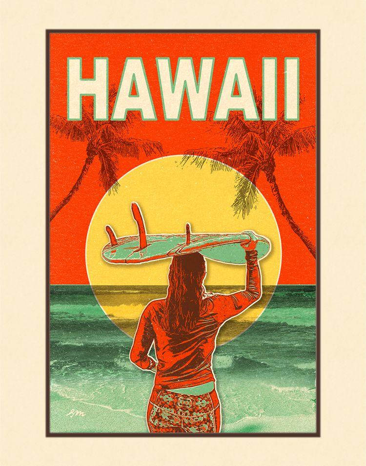 Aloha Posters SUNSET SURF, 11X14 MATTED PRINT