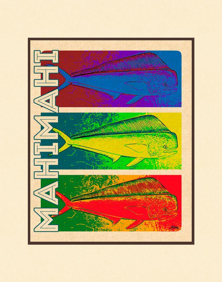 Aloha Posters MAHI MAHI 11X14 MATTED PRINT