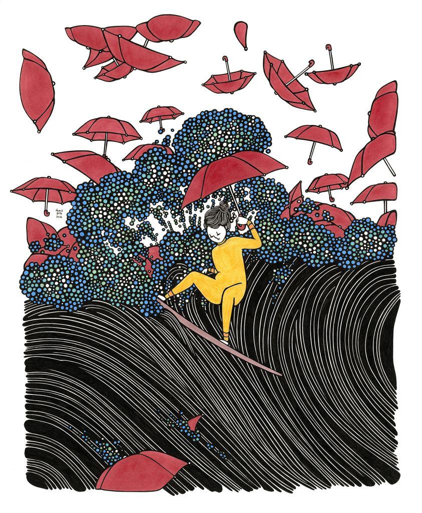 "Kris Goto Umbrellas Whirl, 11""x14"" Matted Art Print"