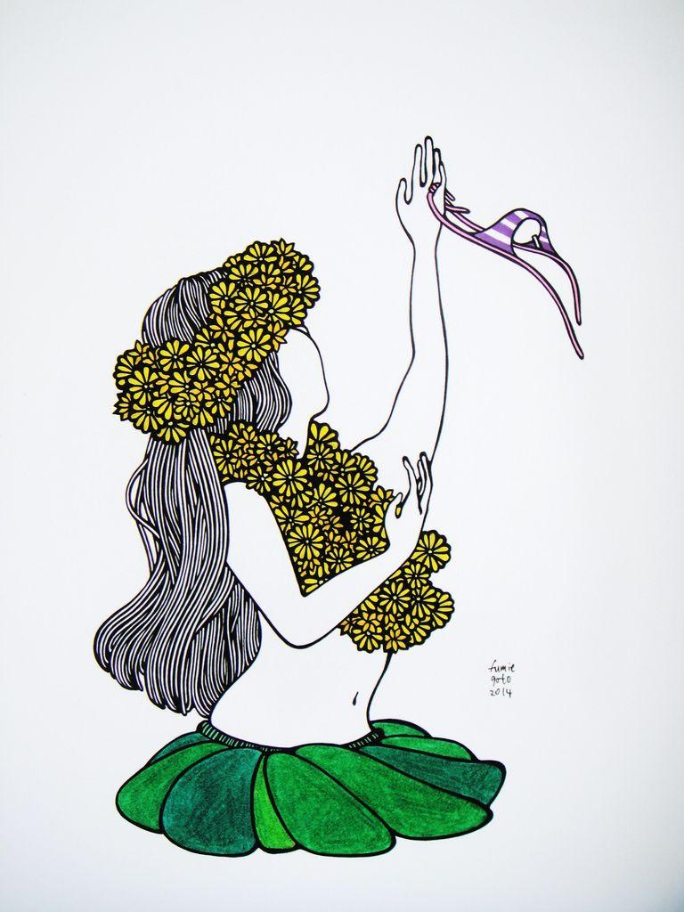 "Kris Goto Hula Girl Bottom, 11""x14"" Matted Art Print"