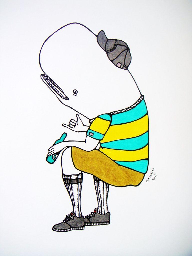 """Kris Goto Hip Whale, 11""""x14"""" Matted Art Print"""