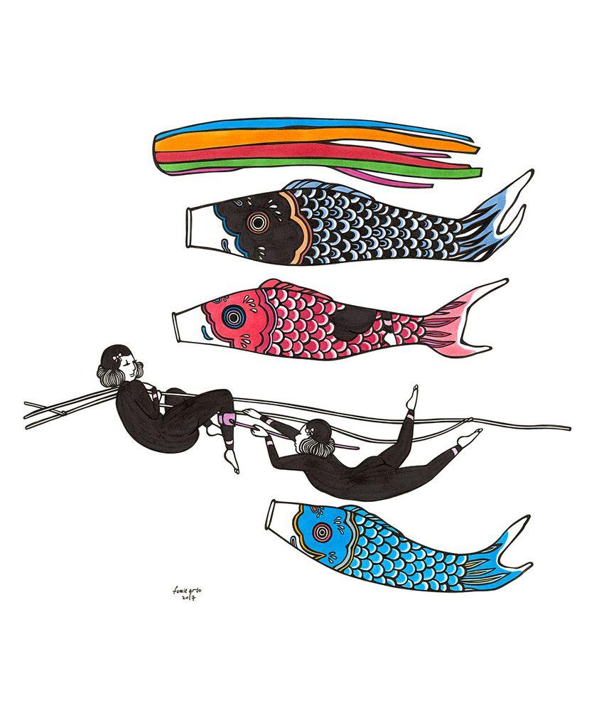 "Kris Goto Koi, 11""x14"" Matted Art Print"