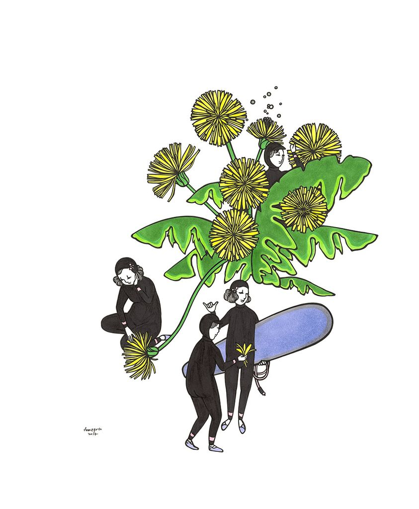 "Kris Goto Dandelion, 11""x14"" Matted Art Print"
