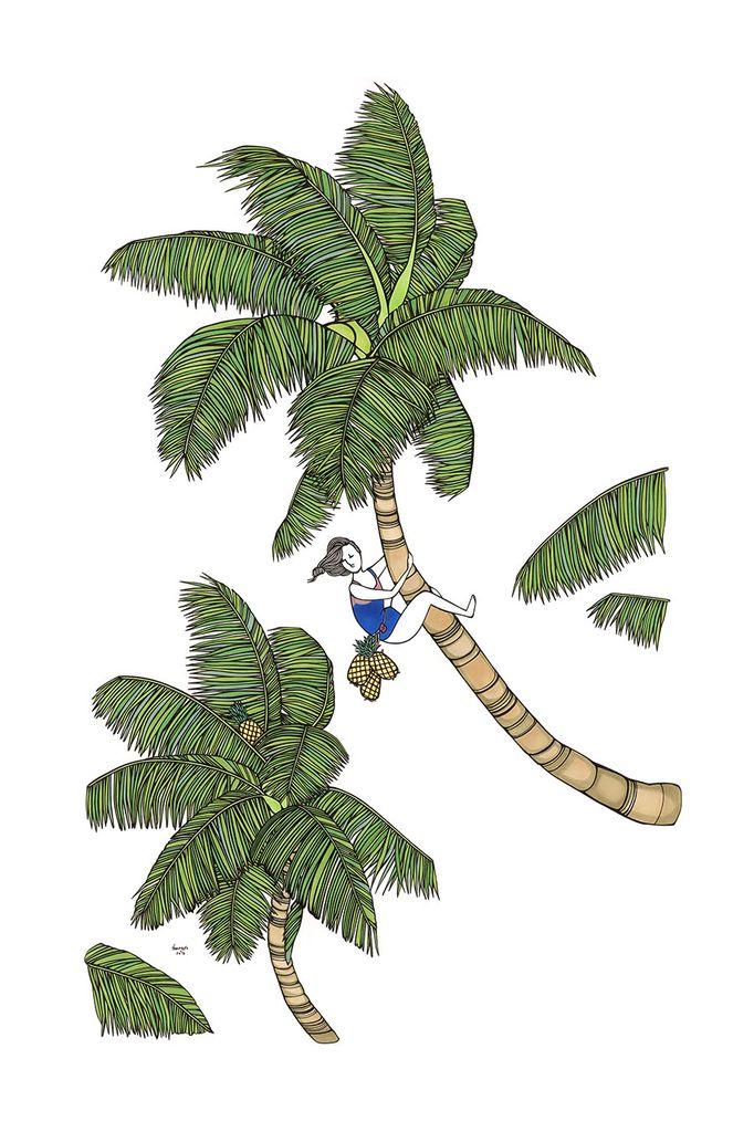 Kris Goto Coconut Girl, 24x36 Art Print