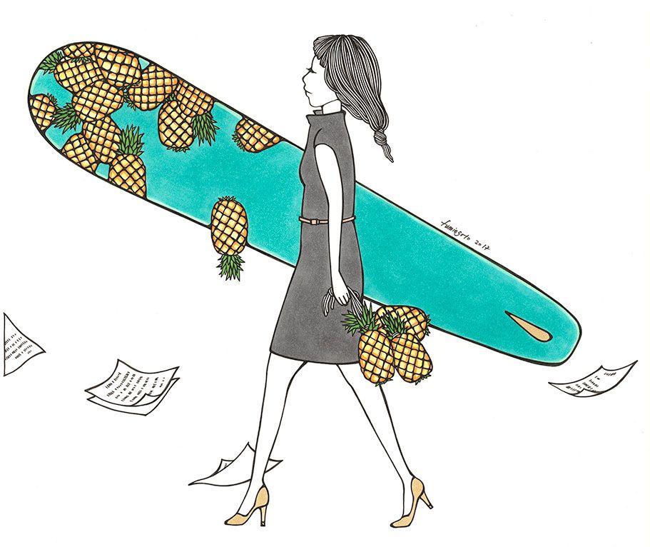 "Kris Goto Office Lady, 11""x14"" Matted Art Print"