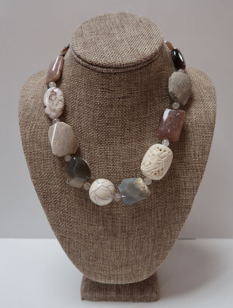 Beverly Creamer NECKLACE - Polished semi-precious stones, carved bone, onyx etc.