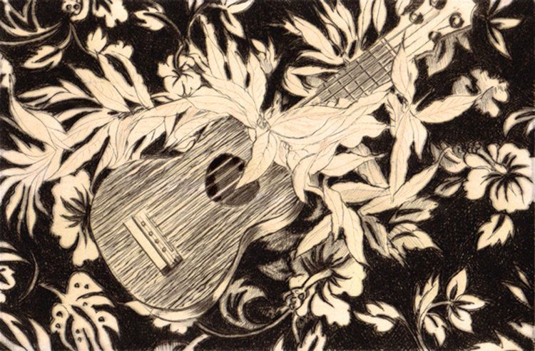 "Carol Collette Ukulele & Maile, 11""x14"" Limited Edition Drypoint Engraving"