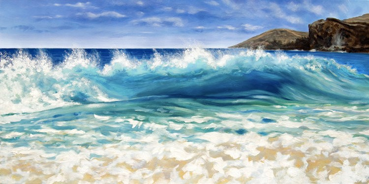 "Carol Collette Afternoon at Sandy Beach 11""x14"" Matted Print"