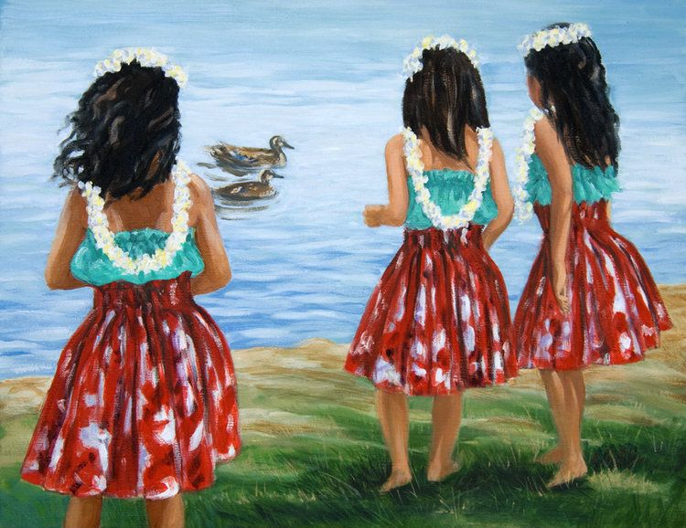 "Carol Collette Little Hula Sisters, 11""x14"" Matted Print"