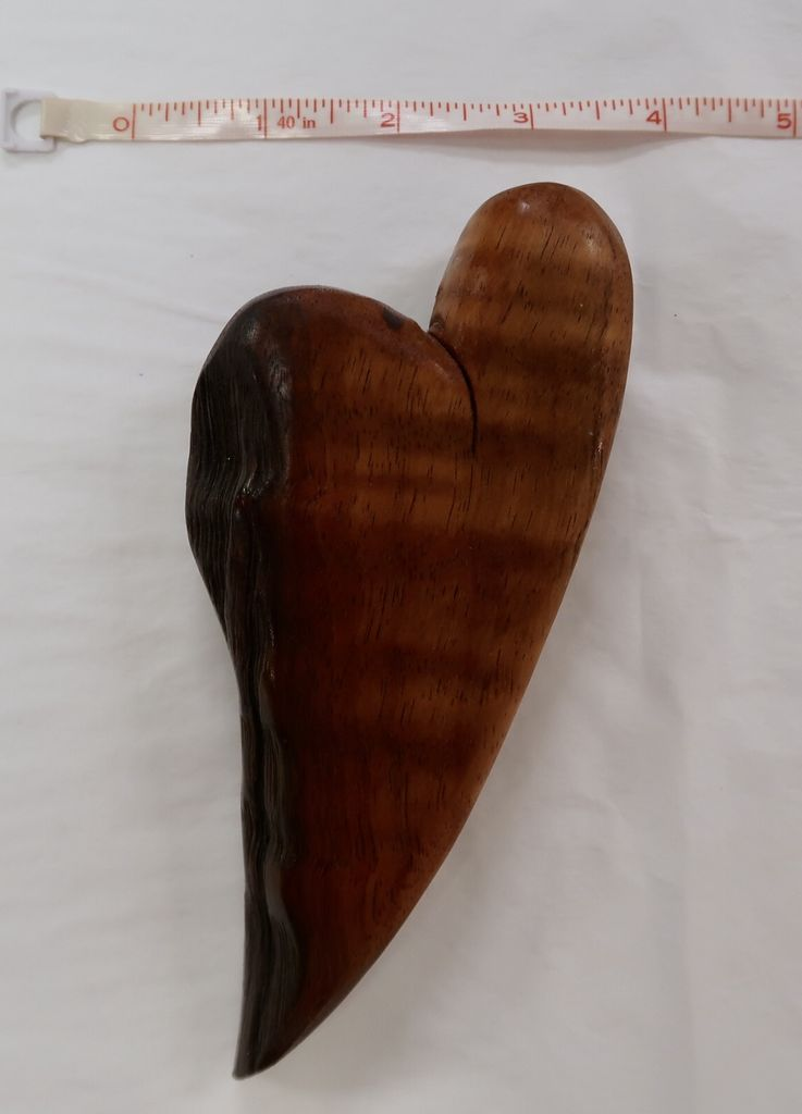 "Nadia Fairlamb koa heart - ""edgy"" w/ raw edge"