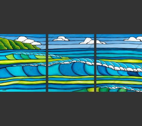 """Heather Brown WAVE TRIPTYCH, 16""""X20X3"""" GALLERY WRAP GICLEE ON CANVAS, LIMITED EDITION #9/100, SO19117"""