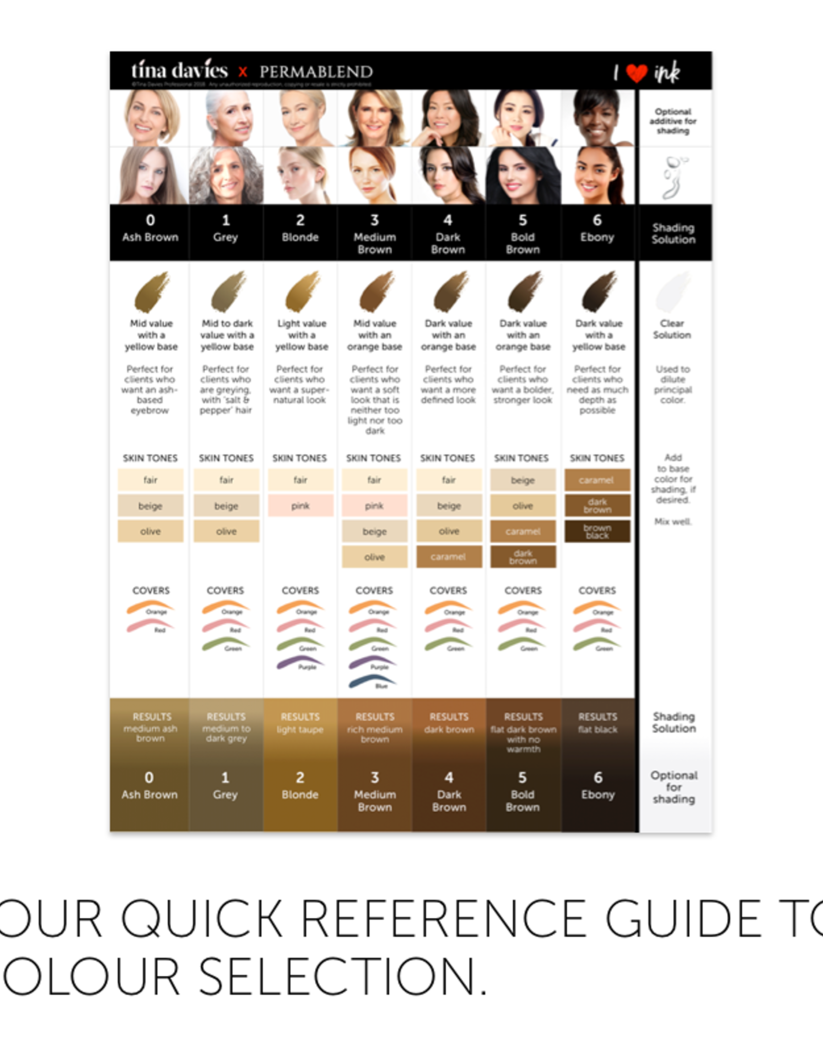 I ❤ INK Eyebrow Pigment Colour Chart