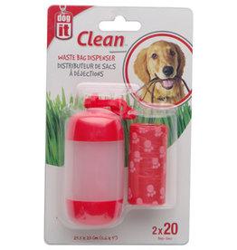 DogIt Dogit Bag Dispenser - 2 Rolls/20 Bags - 29.5 x 23 cm (11.6 x 9 in) - Red