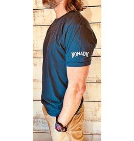 """Next Level Mens Crew T-shirt """"Nomadic"""" Sleeve Logo"""