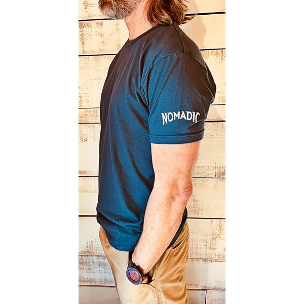 "Mens Crew T-shirt ""Nomadic"" Sleeve Logo"