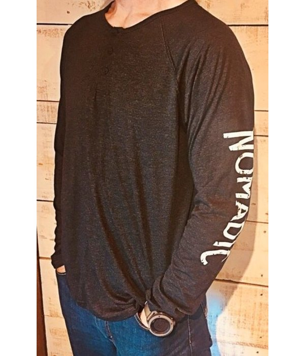 Next Level Mens Henley Nomadic Sleeve Logo