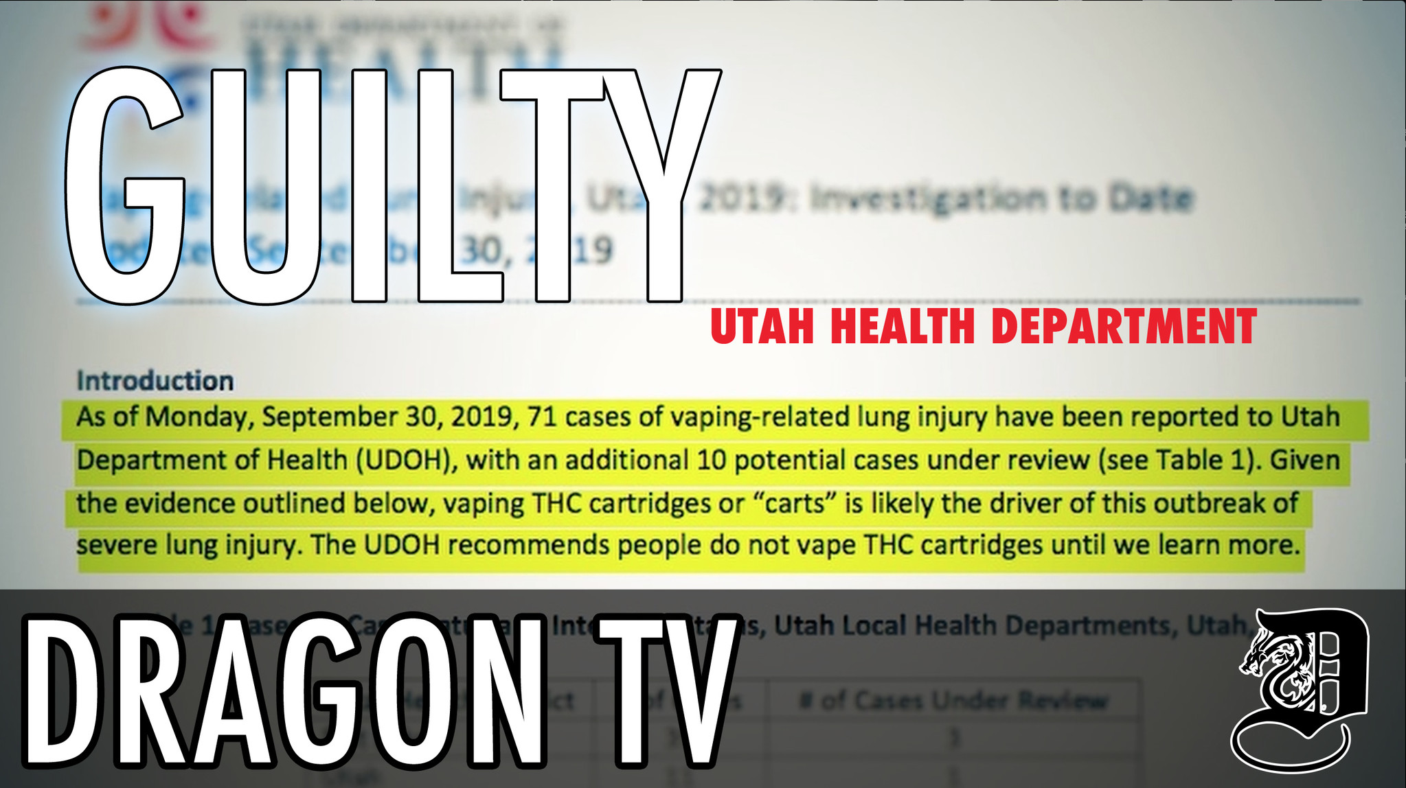 VAPE NEWS: UTAH Health Department FACTS - Why is media not talking about this???