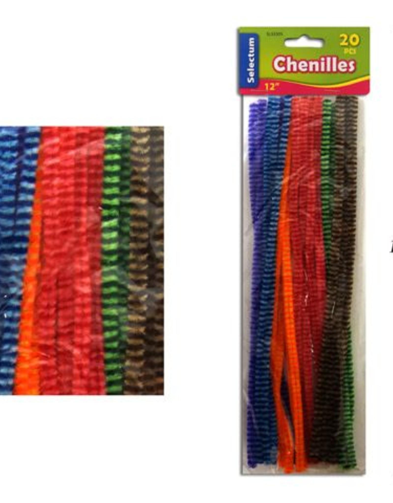 "12"" Coloured Striped Chenilles, Asst Col. 20/Pack 2 Tone Colour"