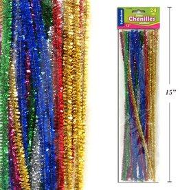 """12"""" Glitter Chenilles Asst Colours 24 Pcs/Pkg 6 Asst Colours Per Pkg"""