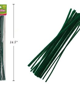 "12"" Chenilles Dark Green 40/Bag 4 Mm Thickness"