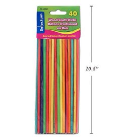 40 Pcs Round Wood Sticks Asst Colors 200X5Mm