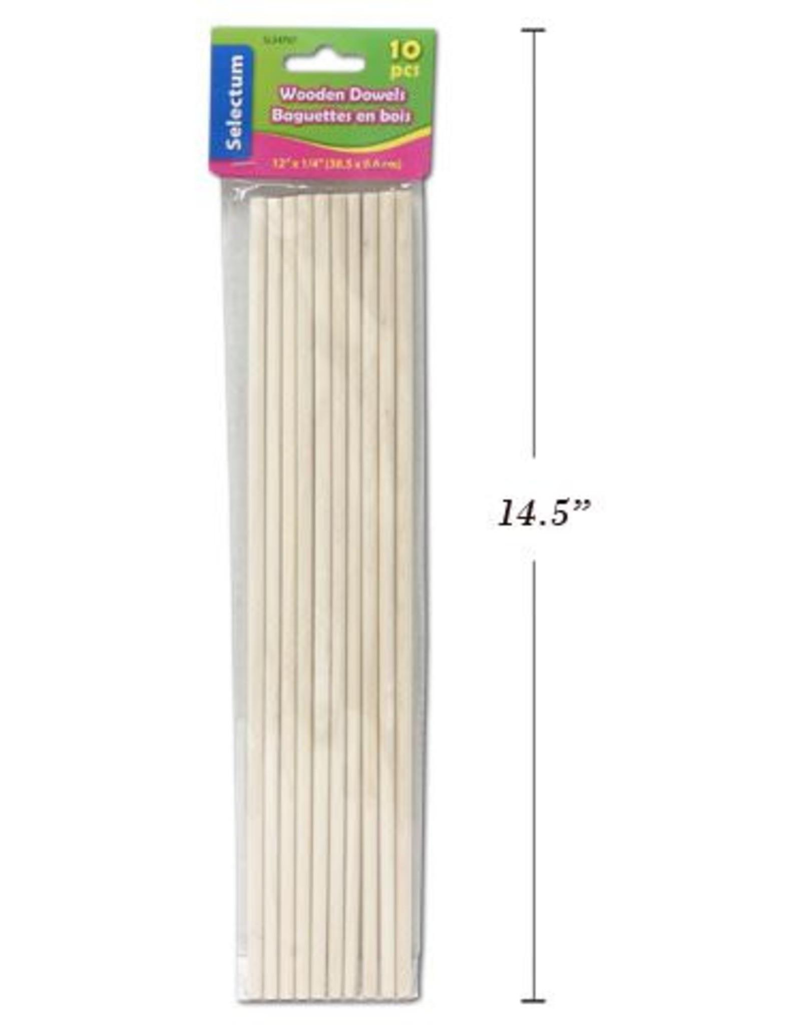 """10 Pc Wooden Dowels 12"""" x ¼"""" (30.5 cm x 0.6 cm)"""