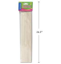 10 Pc Wooden Dowels 12 inches x ¼ inch (30.5 cm x 0.6 cm)