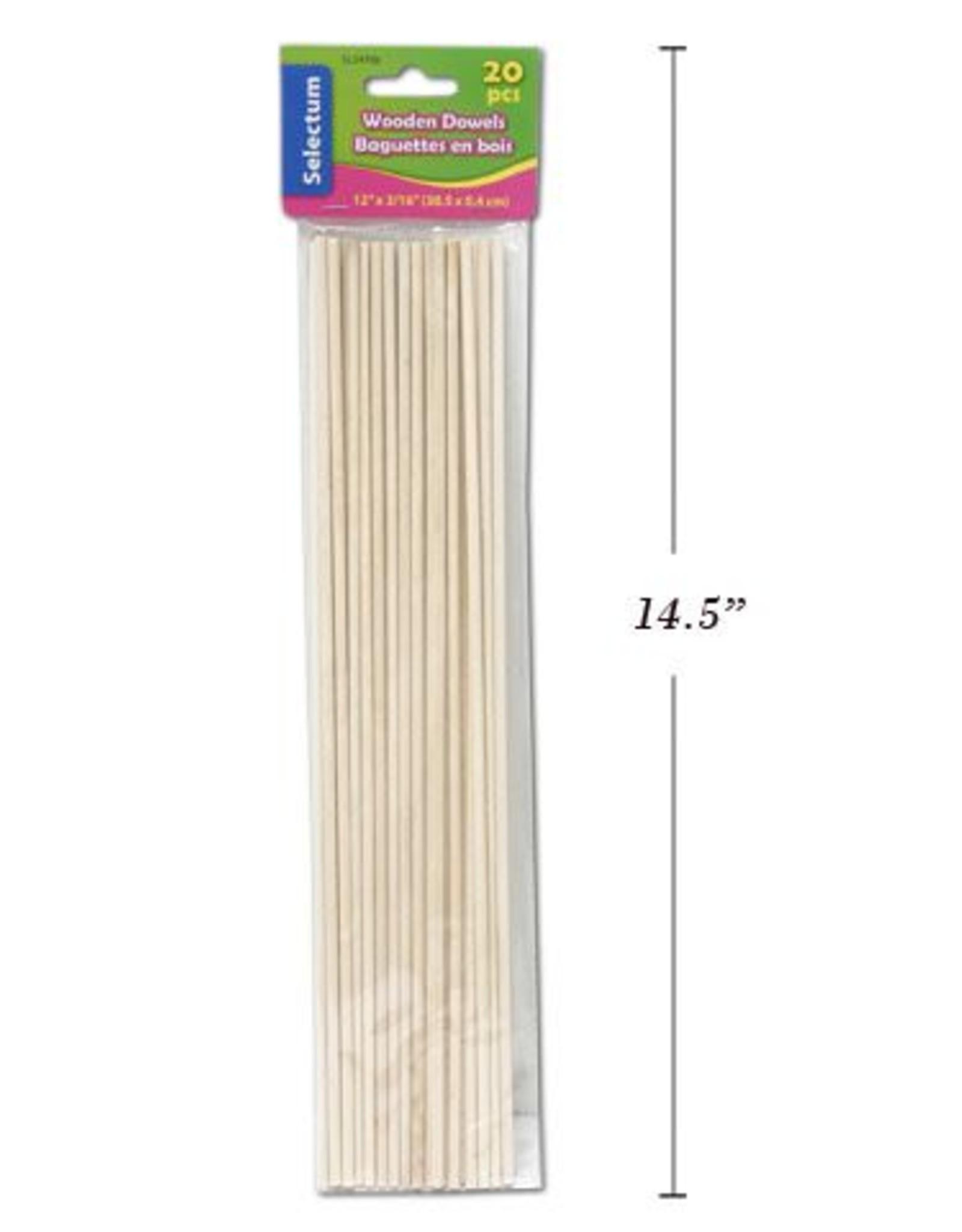 "20 Pc Wooden Dowels 12""X 3/16"" (30.5Cmx0.4Cm)"