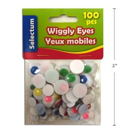 Wiggly Eyes, Assorted Coloured Sizes 100/Bag
