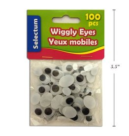 Wiggly Oval Shape Eyes, Blk & White Asst Sizex100