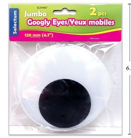 "2 Pc Jumbo Google Eyes 120Mm (4.7"") Blk/Wht"