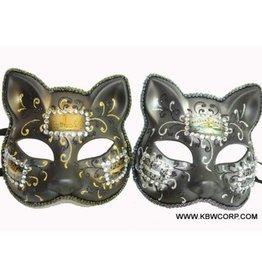 Venetian Cat Face Mask W/Rhinestones Dec. Black