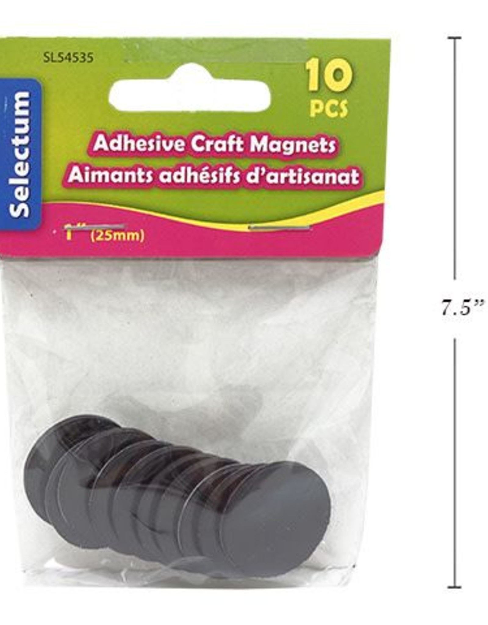 "1"" (25mm) Round Adhesive Craft Magnets 10/Pkg"