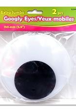 "2 Pc Extra Jumbo Google Eyes 5.9"" (150Mm) Blk/Whte"