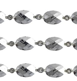 Plastic Trim Facetted Oval/Rd 11Mm Silver