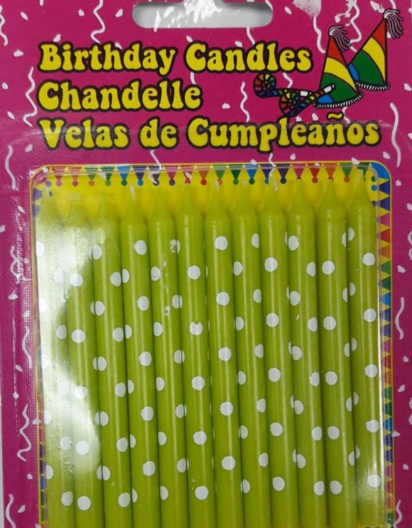 12Pcs Polka  Dot Birthday Candles Assorted