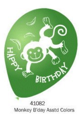 2 Sides Party Balloons Monkey - 10Ct