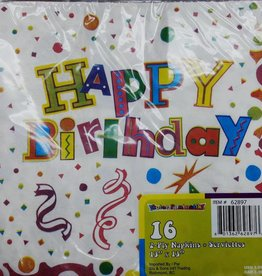 16Ct 2Ply Printed Luncheon Napkins Happy Birthday