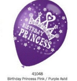 Helium Quality Birthday Princess 12 Inches