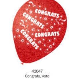 """10CT 12"""" PRINTED BALLOONS, CONGRATS"""