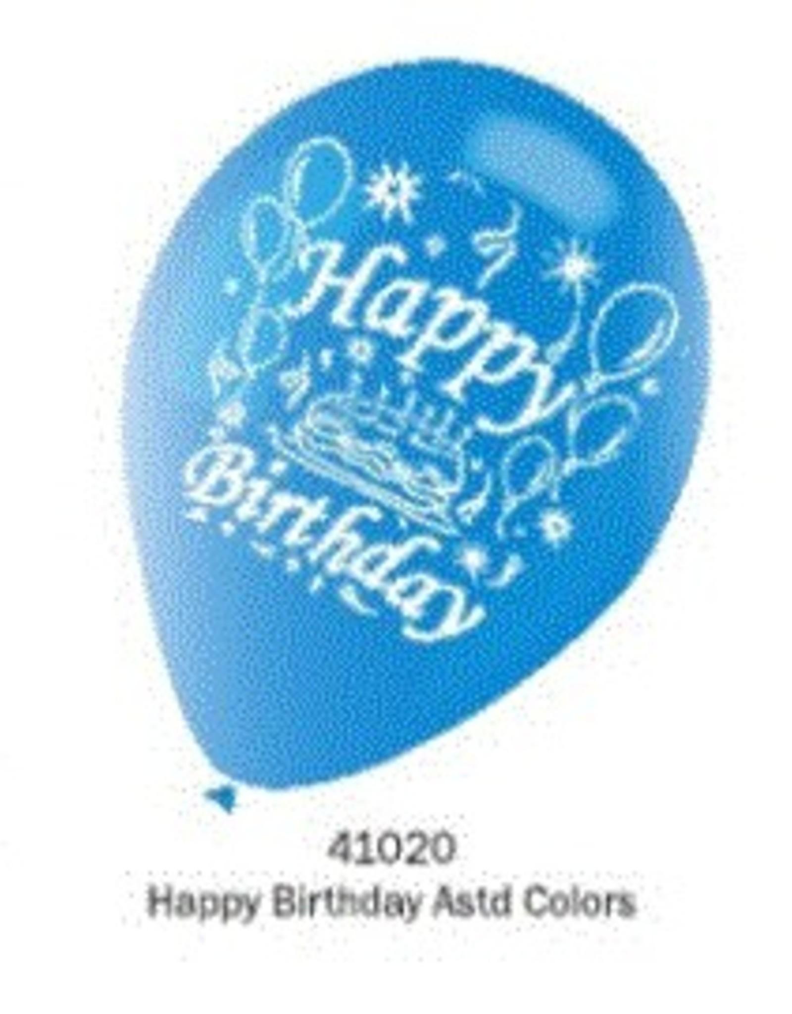 Balloons-10 Pk-Happy Birthday 12Inches Round