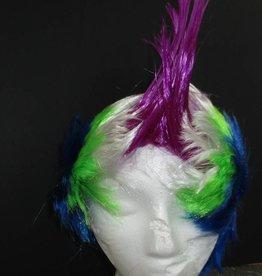 Mohawk Wig - Purple/White/Lime/Blue