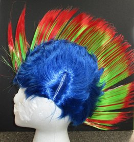Mohawk Wig - Red/Lime/Blue